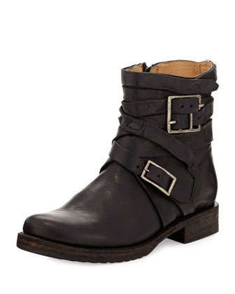 Veronica Strappy Short Engineer Boot, Black by Frye at Neiman Marcus.