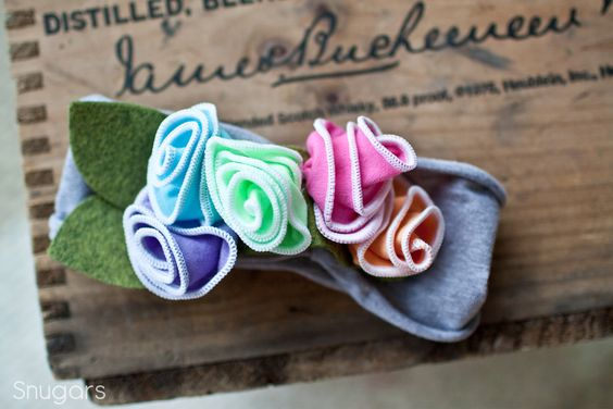 Rainbow Sherbet hydrangeas SNUGARS headband infant toddler newborn girls head band. $37.00, via Etsy.