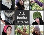 All Bonita Patterns Crocodile Stitch Collection of PDF Crochet Patterns (Shawl, Neckwarmer, Gloves, Hats, Headband)