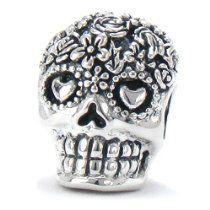 BELLA FASCINI Dia De Los Muertos Skull Bead Charm 925 Silver Fits Compatible Snake Bracelets (Bouquet)
