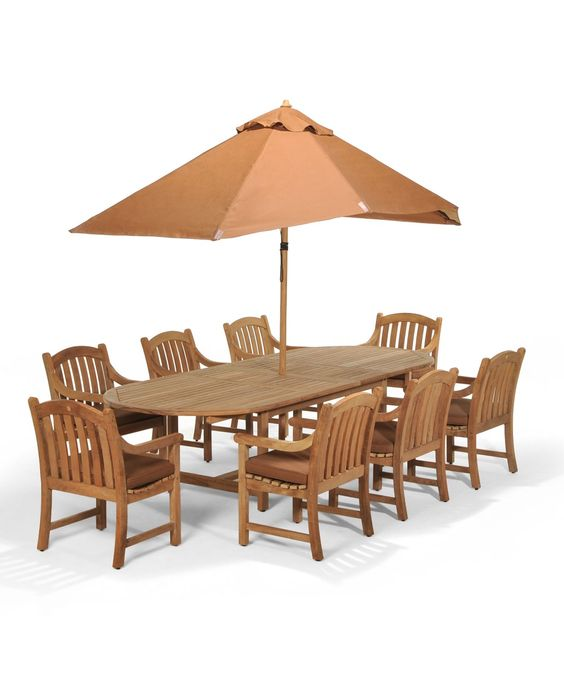 "Bristol Outdoor Teak 9 Pc Dining Set 87"" x 47"" Dining Table and 8"