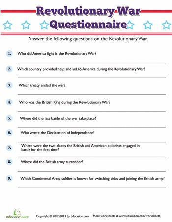 American revolution worksheets for 4th graders