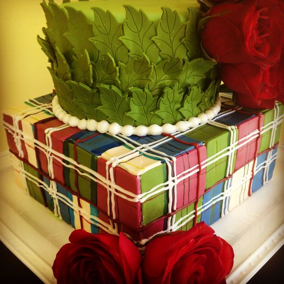 Plaid cake! Kentucky Derby Roses
