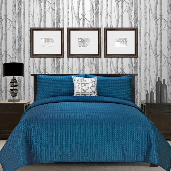 Blue and Grey Bedroom.