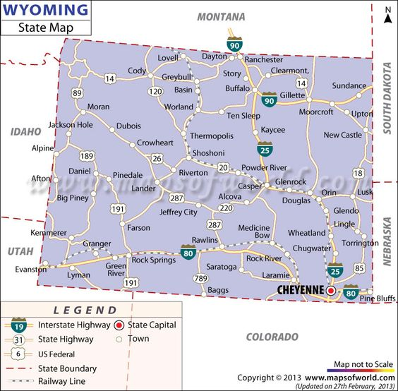 Map of Wyoming Vacation Planning Pinterest Wyoming Maps and US states