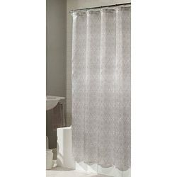 This Saachi shower curtain is the epitome of pure elegance. This curtain showcases an intricate paisley and delicate floral motif in a modern silver and white color palette.