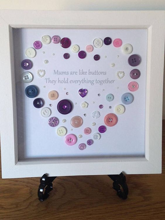 Mums button art heart design picture in an 8 x 8 white box frame, handmade heart gift for Mum, Mother, Step Mum, A lovely way to say I Love You Mum and thank you Mum. Beautiful handmade framed button art designed Mums are like buttons they hold everything together. Would make a