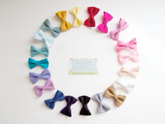 New colors Pick 4 wool felt hairbow clips by Ellaslittlepinwheel, $12.00