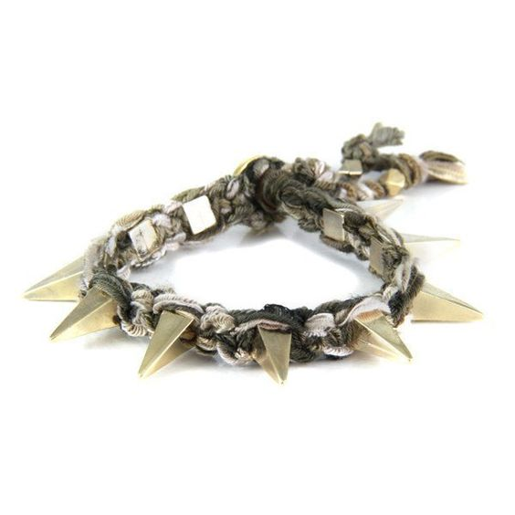 Multi Brown Vintage Ribbon Bracelet with Pyramid Spikes