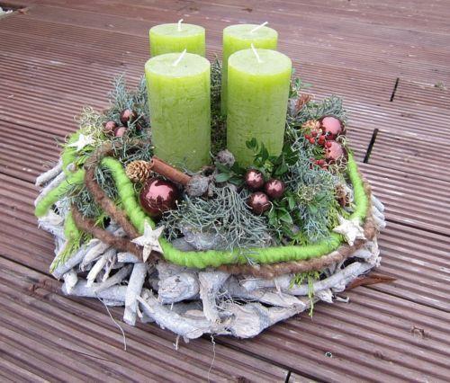 Adventskranz - Adventskranz frisch oder haltbar, Farbe wählbar - ein Designerstück von kerzenshopmelina bei DaWanda