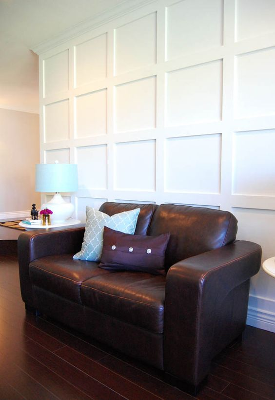 Paneled walls diy and crafts and texture on pinterest for Wall panelling ideas living room