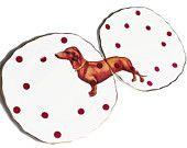 Sausage Doggie upcycled vintage plates