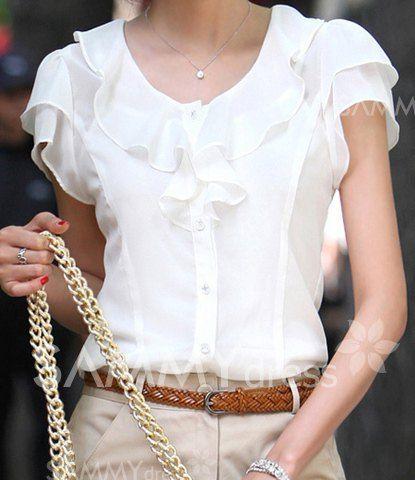Blusa Elegante de Poliéster de Bajo cuello redondo y Color Sólido de Chorrera de Moda para las mujeres