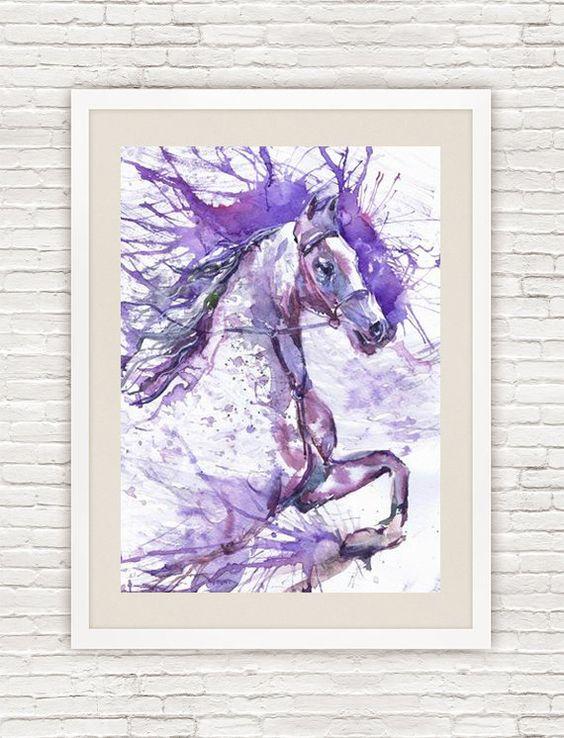 Ejecución de pintura de acuarela caballo caballo por ValrArt