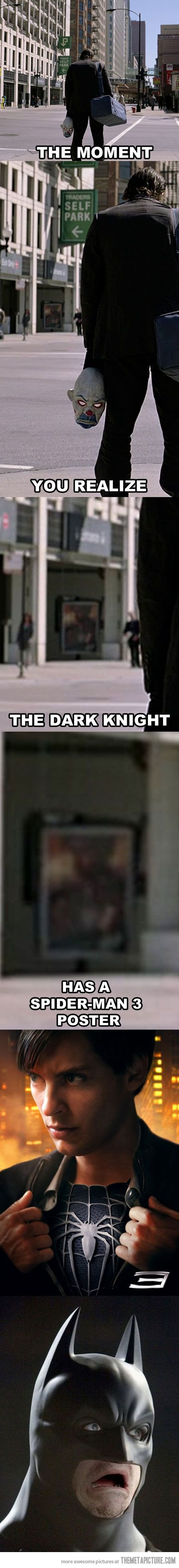 The moment you realize the Dark Knight has a Spiderman 3 poster | Marvel vs DC