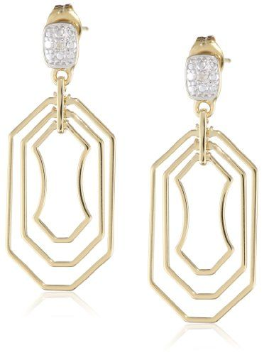 18k Yellow Gold Plated Sterling Silver Two-Tone Open Geometric Shaped Multi-Drop Earrings >>> You can get more details by clicking on the image.