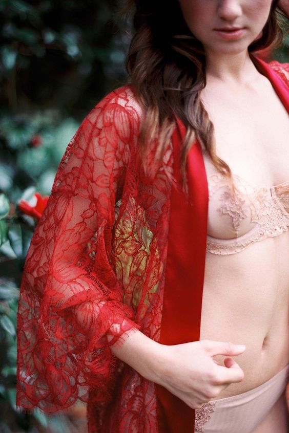Image of Fleur le Ressort Tulip French Lace & Silk Bridal Kimono robe in garnet