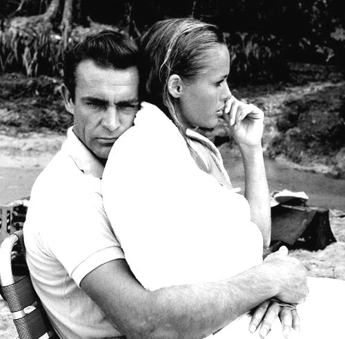 Sean Connery and Ursula Andress behind the scenes of Dr. No (1962)