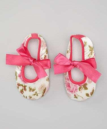 Take a look at this Pink Floral Bow Flat by Baby Gem by Royal Gem Clothing on #zulily today!