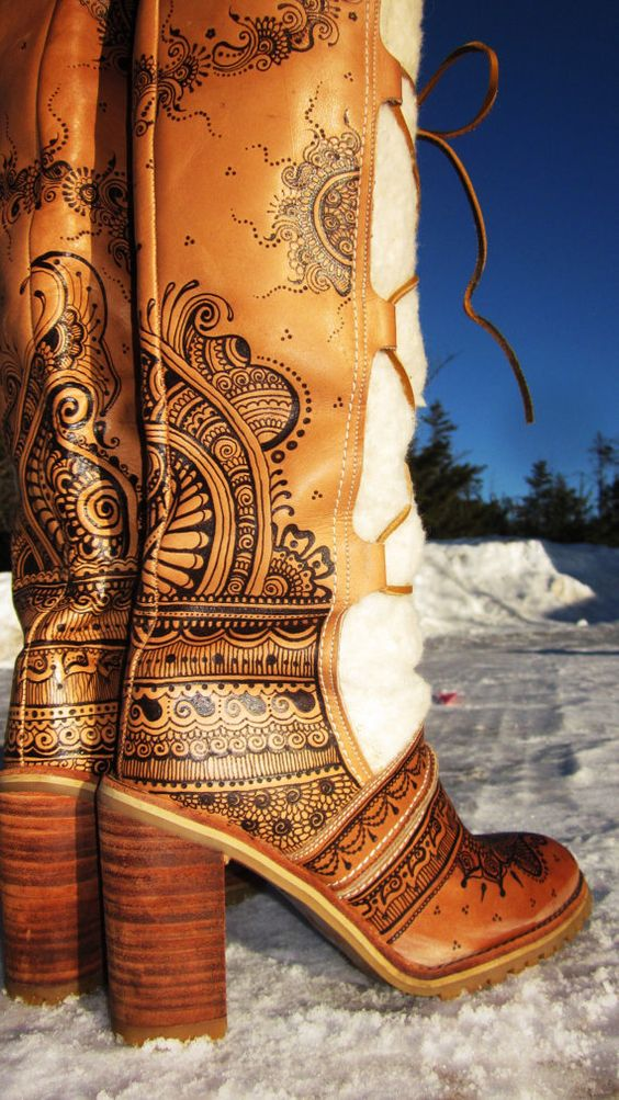 ONYX FRIDAY item   Size 8 Leather Boots with burned by Behennaed, $325.00