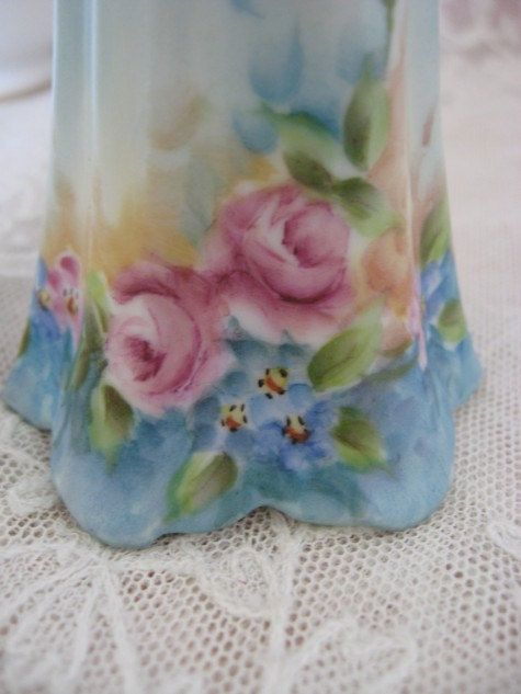 Vintage Porcelain Hand Painted Hat Pin Holder