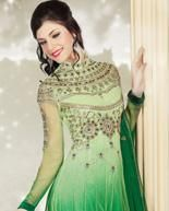 Green zardosi work net anarkali suit - Indianclothstore.com - USD $99.41