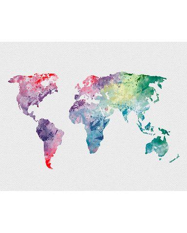 World map 1 watercolor art print getreide wasserfarben for Minimal art zusammenfassung