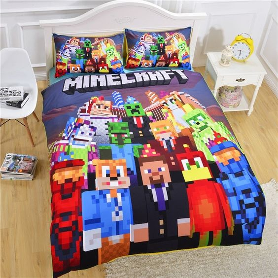 Minecraft kinder bettw sche bedding set g nstig kinderbett for Dimension housse de couette pour lit 180x200