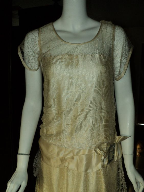 Late1920s Silk Lace Wedding Dress with Rhinestone Silk Bow antique net Original Art Deco Flapper. Materials: silk, silk net, silk lace, rhinestone buckle. Detail