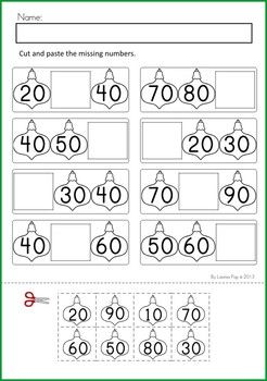 math worksheet : christmas math  literacy worksheets  activities no prep  : Counting By Tens Worksheets Kindergarten