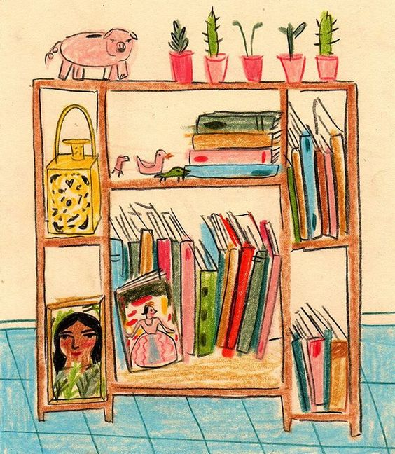 María Luque. La biblioteca de @jazminvarela_ #bibliotecasdibujadas