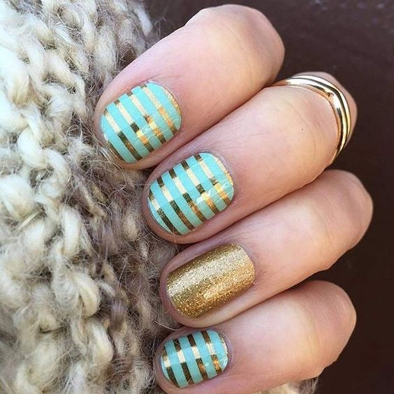 Mint Green and Gold Stripe and Gold Sparkle