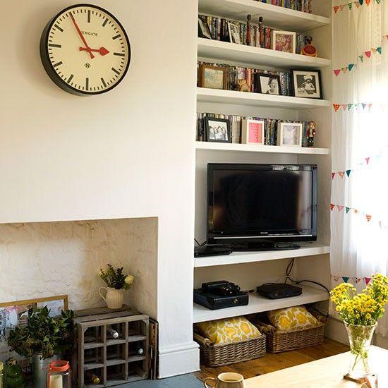Cream Living Room With Alcove Shelves