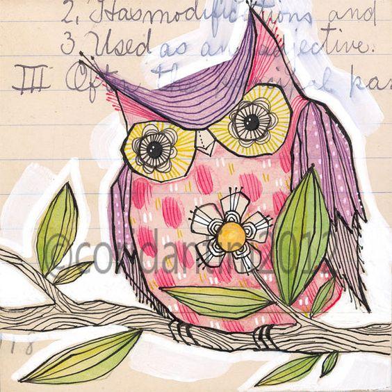 purple owl - watercolor painting - 8 x 8 print - archival, limited edition print by cori dantini via Etsy