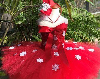 Tutu rojo copo de nieve tutú Navidad falda de por DesignsbyReet