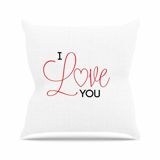 """NL Designs """"I Love You"""" White Red Throw Pillow"""