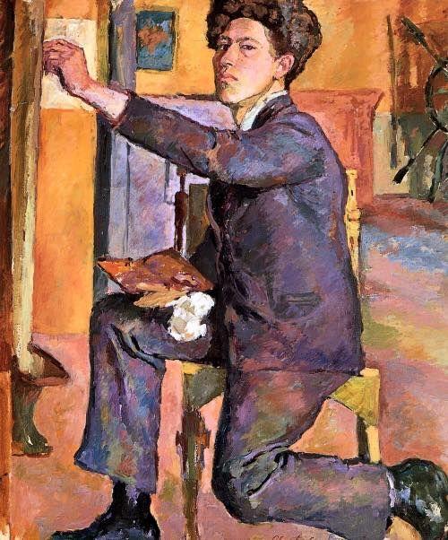 Alberto Giacometti: Auto-retrato no ateliê, 1921