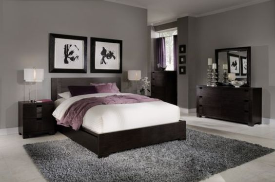 Grey Walls Black Furniture Pops Of White And Purple Love This For Master Bedroom