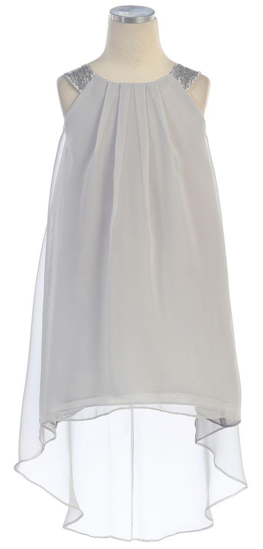 Girls high-low hem chiffon dress - Chiffon Dresses- Chiffon and ...