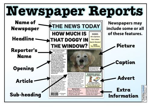 The Newspaper Reports Teaching Pack Newspaper Report Articles
