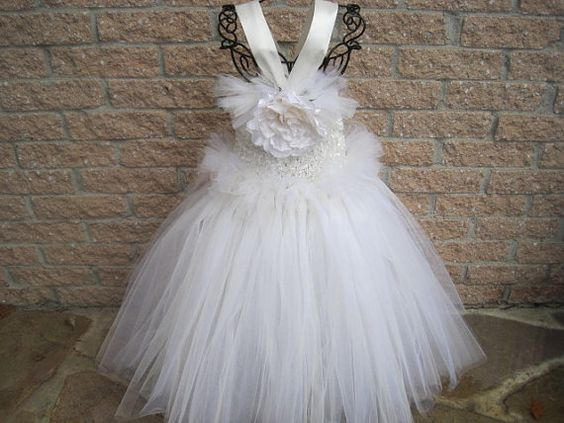 Tutu Dress New Color ANTIQUE WHITE Mix of  White and Ivory tulle,  by ElsaSieron.