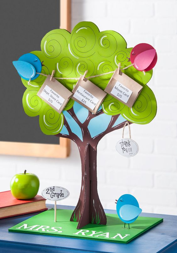 art and craft ideas for teachers day gift card tree for appreciation day 7958