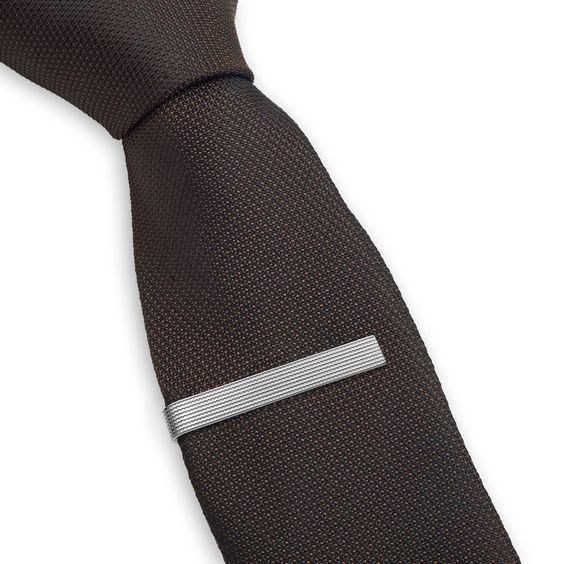 3 Pc Mens Tie Clip Set Textured Slide Clasp 2.1 Inch, Silver, Black & Gold