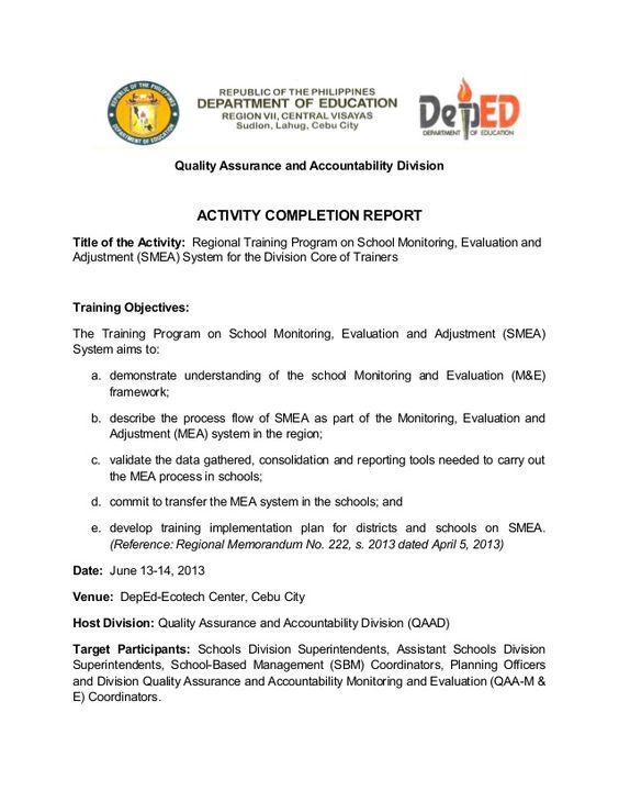 Quality Assurance and Accountability Division ACTIVITY COMPLETION - accomplishment report
