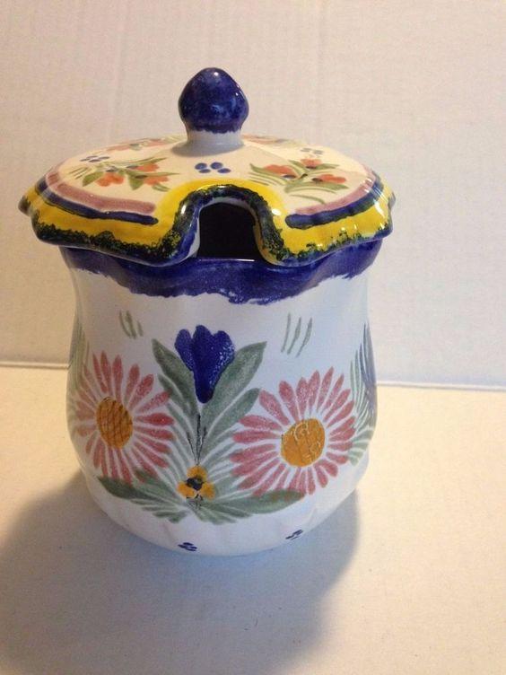 Quimper France condiment mustard pot and lid floral