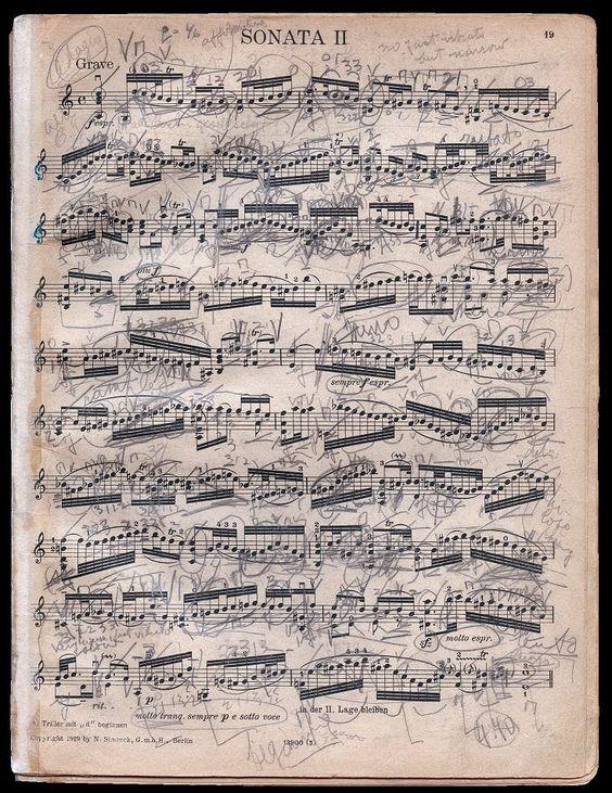 """loverofbeauty: """" Menuhin's markings in his copy of Bach's Violin Sonata No. 2 in…"""
