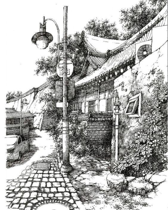 Sketsa Gambar Pemandangan 11