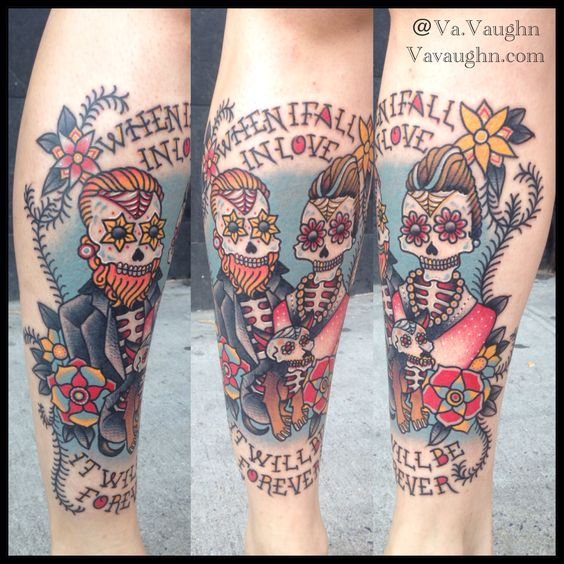 Day of the dead marriage tattoo chihuahua skulls and for Kati vaughn tattoo