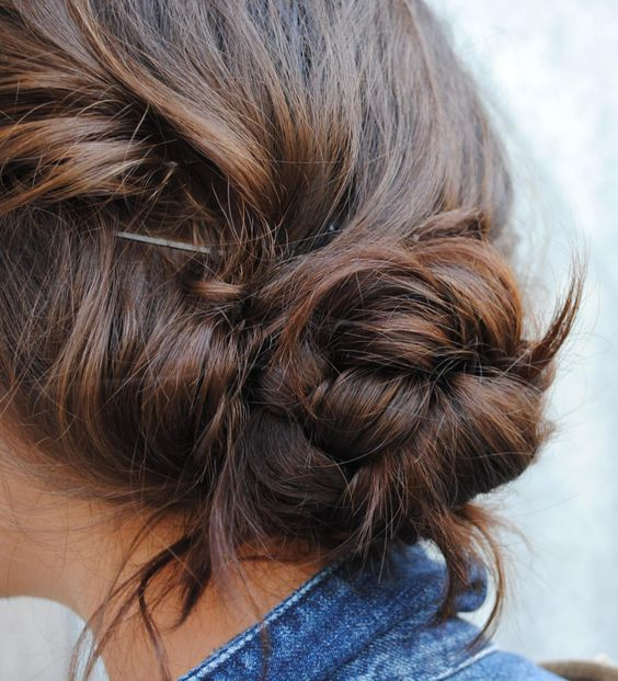 Messy braided bun. Hair.: