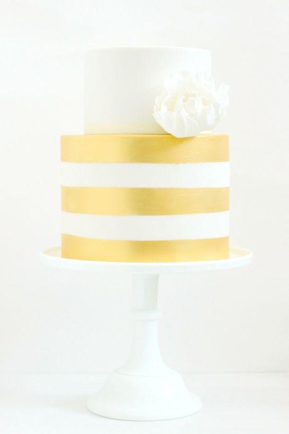 Gold stripes! hello naomi cakes: Stripes Cakes, Shower Cake, Gold Wedding Cakes, Naomi Cake, Cakes Metallic, Beautiful Cakes
